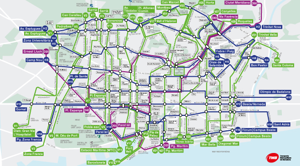 Map of the new bus network | Transports Metropolitans de Barcelona