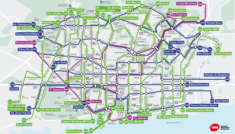 Mapa Bus V21 Barcelona.Map Of The New Bus Network Transports Metropolitans De Barcelona