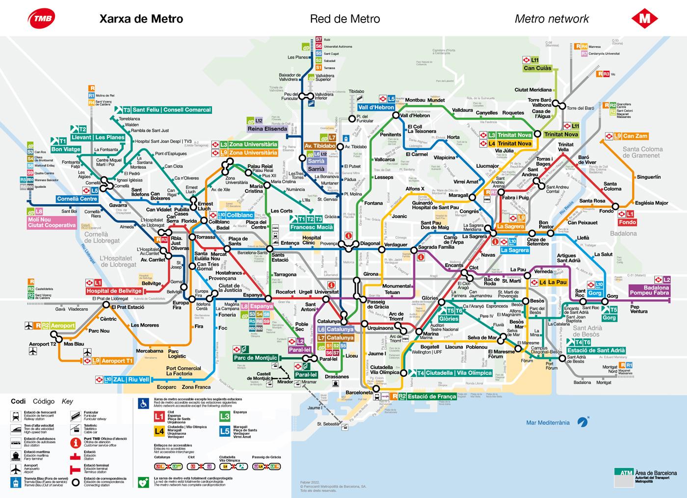 Barcelona metro map | 2018 tube map | Transports Metropolitans de ...