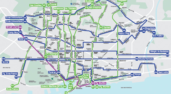 Map of the new bus network Transports Metropolitans de Barcelona