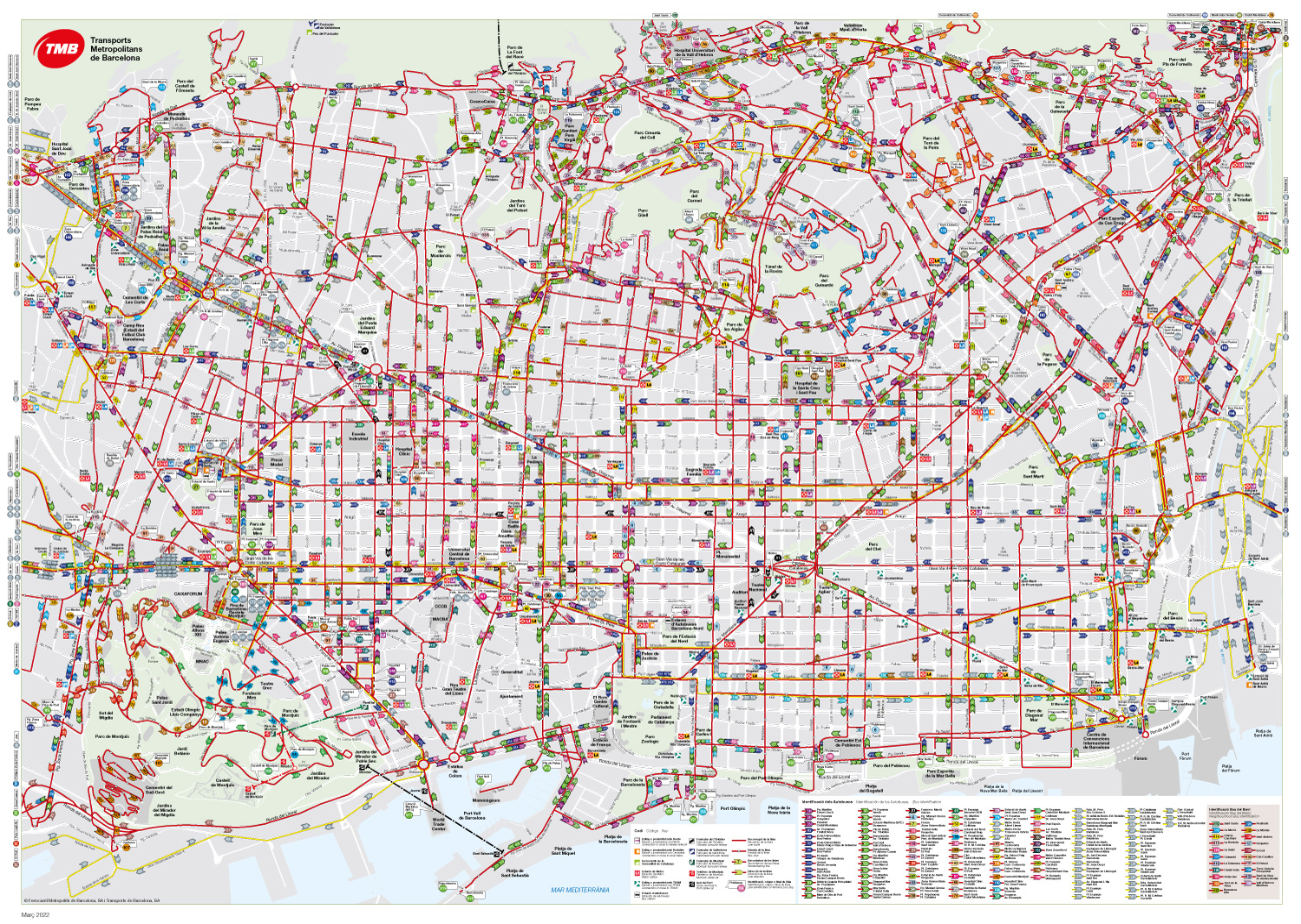 Barcelona Bus Map Transports Metropolitans De Barcelona - Paris bus route map in english