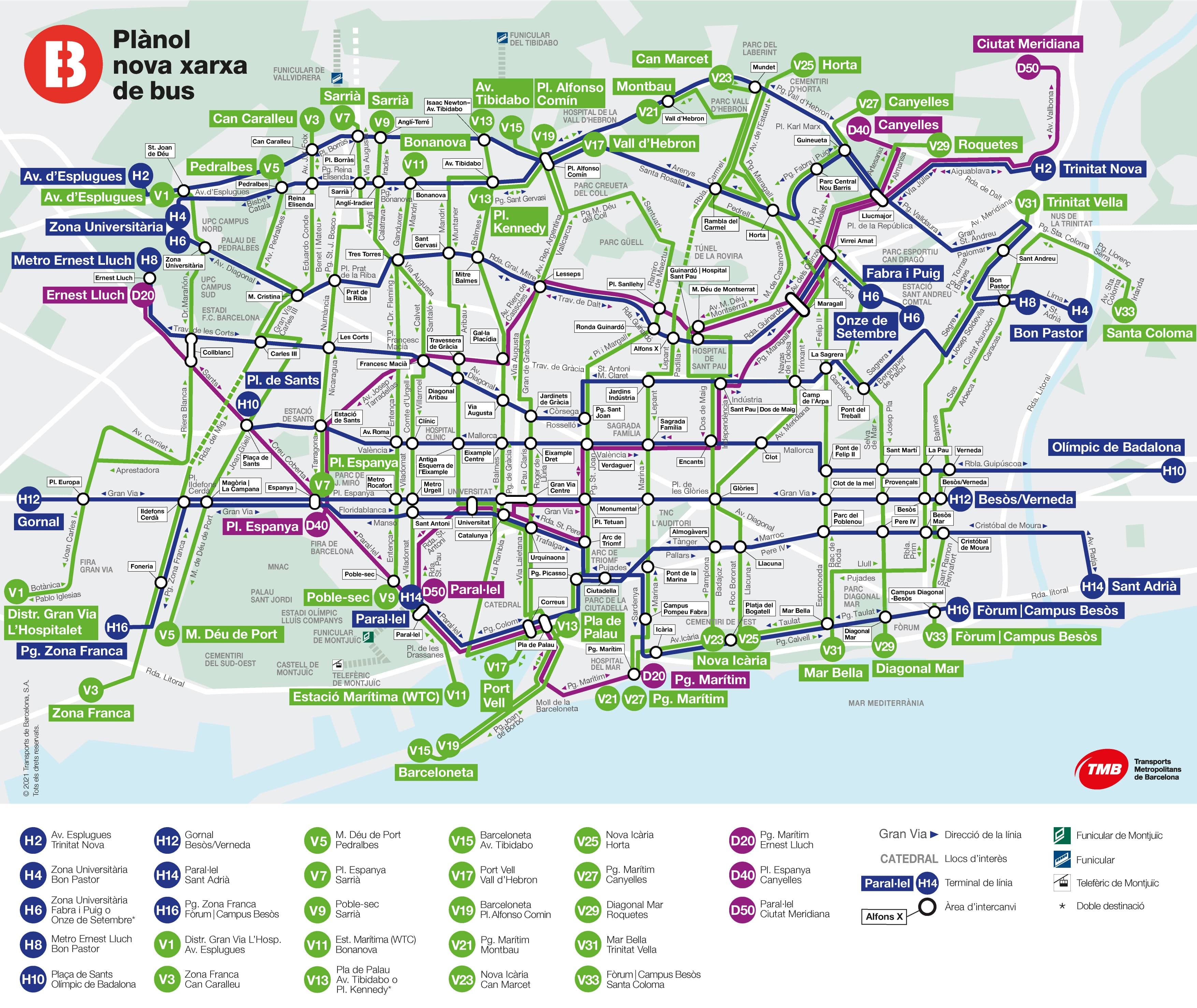 picture relating to Printable Map of Barcelona called Barcelona bus map 2019 Transports Metropolitans de Barcelona